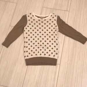 Banana republic Taupe and cream polka dot sweater